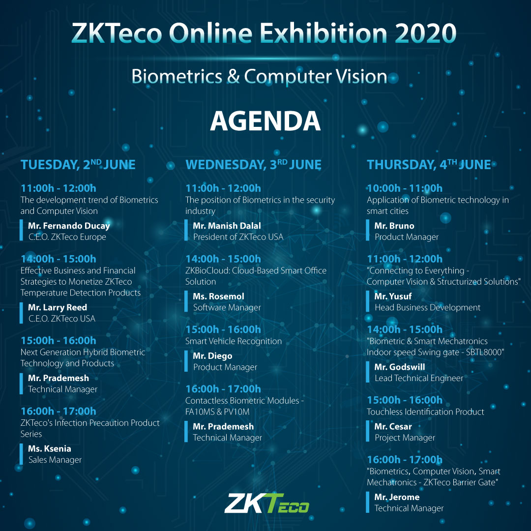 Agenda Join the ZKTeco Online Exhibition 2020, ZKTeco, ZKTeco Europe,