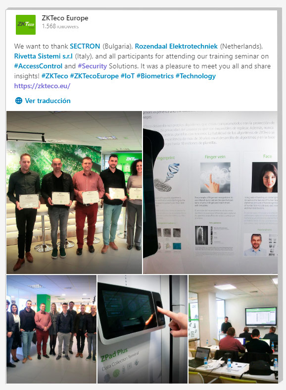 Security Solutions Training Seminars, ZKTeco Europe, Sectron, Rozendaal Elektrotechniek, Rivetta Sistemi,
