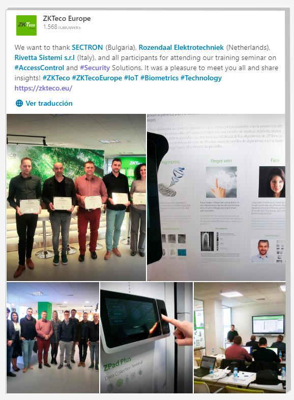 Security Solutions Training Seminars, ZKTeco Europe, Sectron, Rozendaal Elektrotechniek, Rivetta Sistemi,