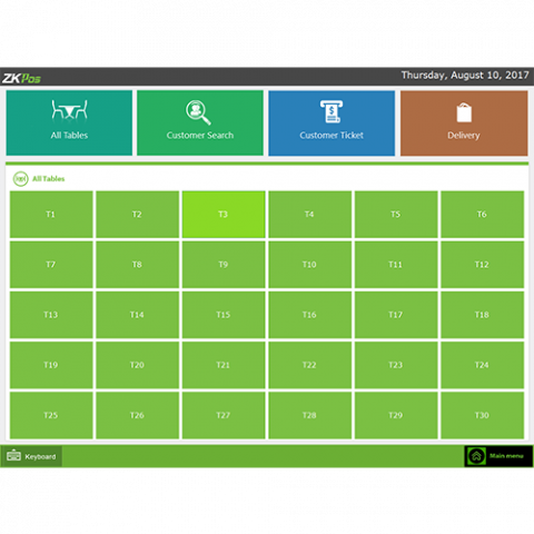 ZKPOS Software all tables screen
