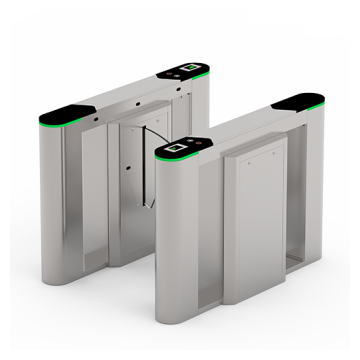 Flap barrier ZKTeco with multiple verification methods, including RFID, fingerprint, QR code, palm verification and visible light facial recognition