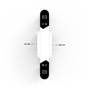 Flap barrier ZKTeco with dual lane and multiple verification methods, including RFID, fingerprint, QR code, palm verification and visible light facial recognition