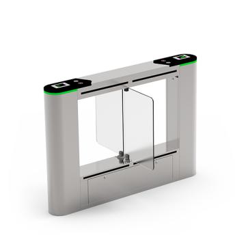 SBTL6200 Dual lane Swing barrier ZKTeco with multiple verification methods, including RFID, fingerprint, QR code, palm verification and visible light facial recognition