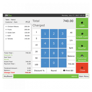 ZKPOS Software total charged screen