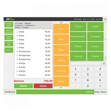 ZKPOS Software balance screen