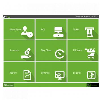 ZKPOS Software home screen