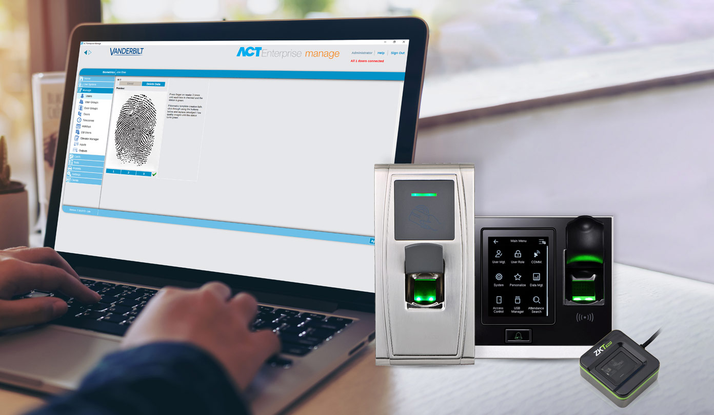 ZKTeco's biometric readers are now integrated Vanderbilt's access control portfolio